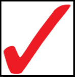 Red Checkmark in Black Square